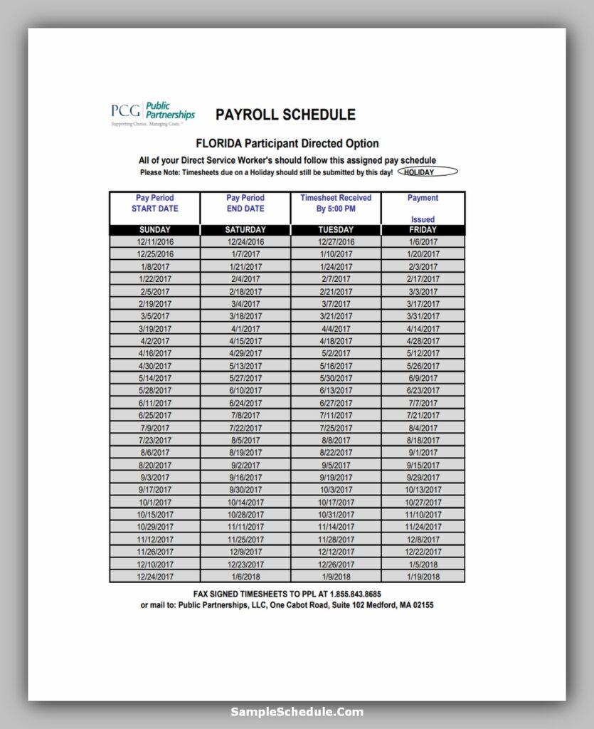 Partnership Payroll Schedule