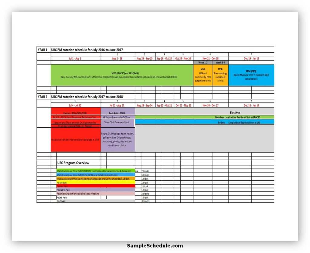 Rotation Schedule Template 21