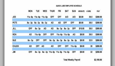 Sample Employee Schedule 01