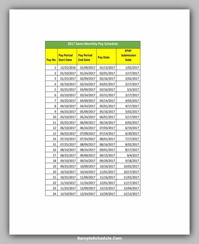 Semi Monthly Payroll Schedule