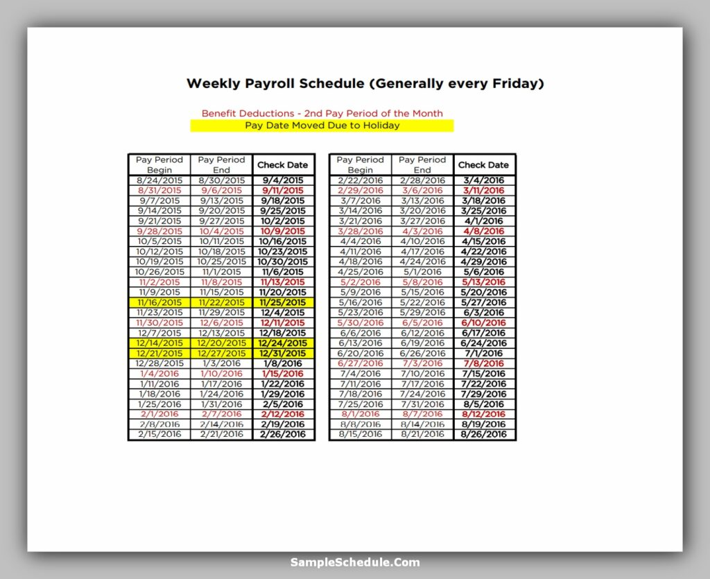 Weekly Payroll Schedule Template