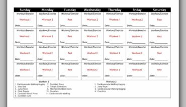 Workout Schedule Template 01