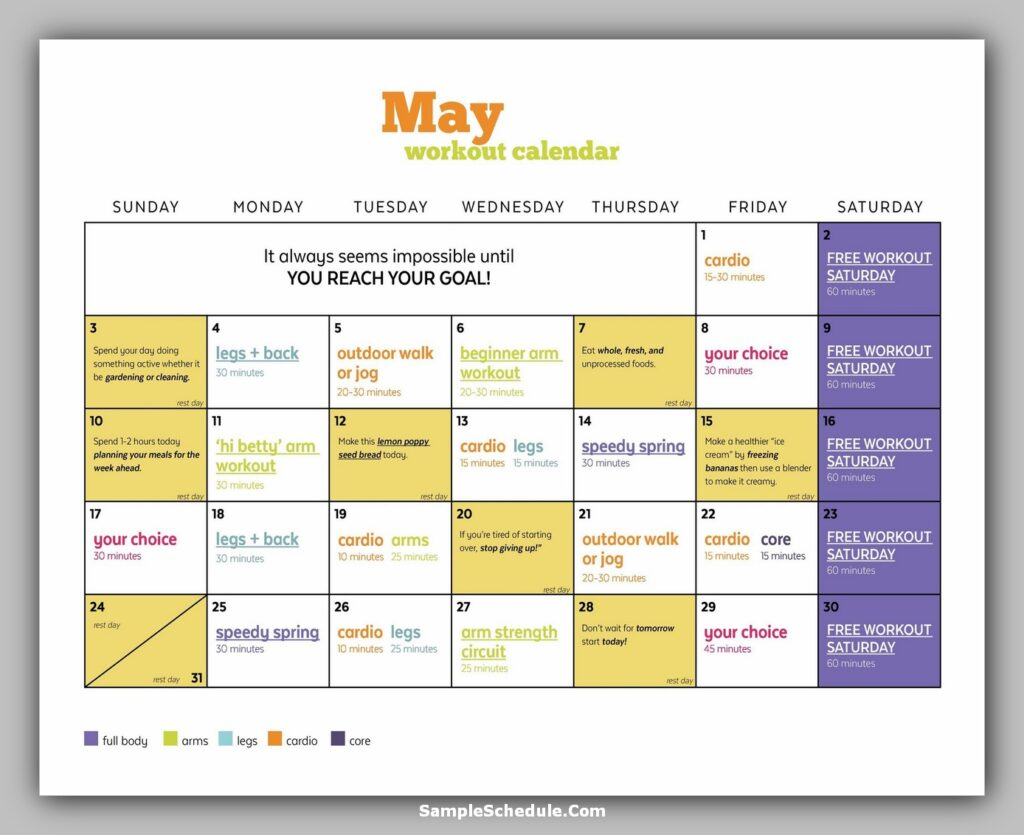Workout Schedule Template 02