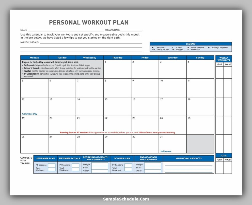 Workout Schedule Template 04