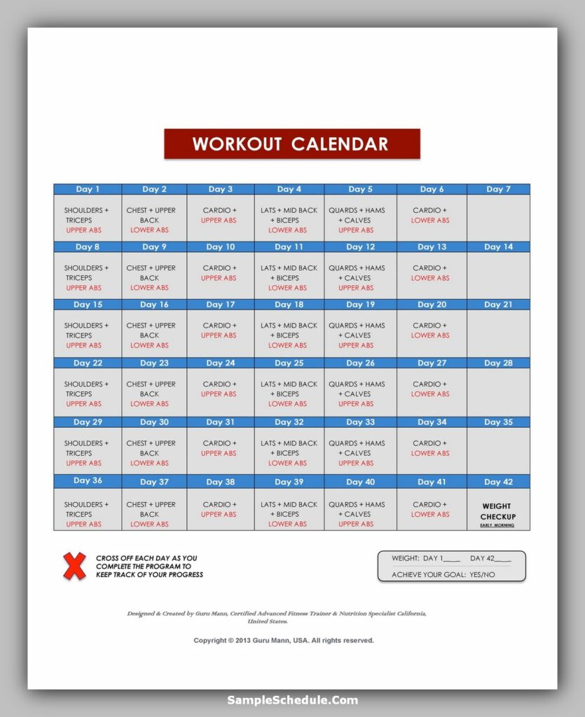 Workout Schedule Template 07