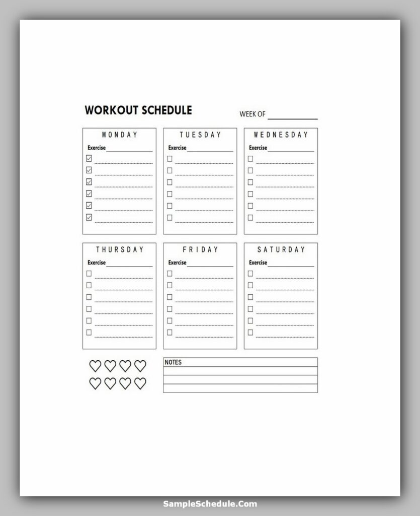 Workout Schedule Template 08