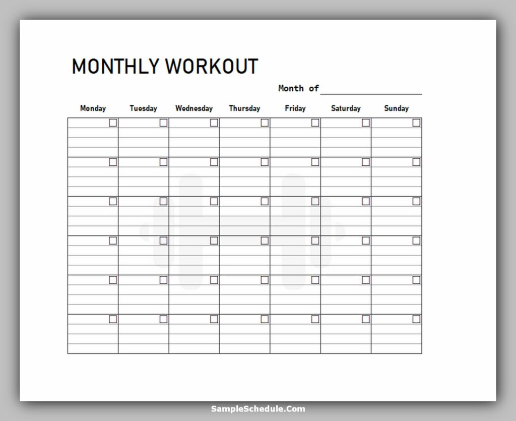 Workout Schedule Template 09