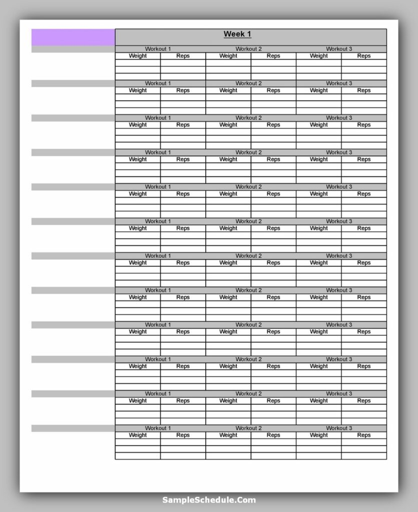 Workout Schedule Template 14