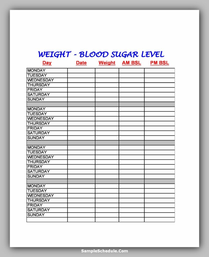 Workout Schedule Template 33