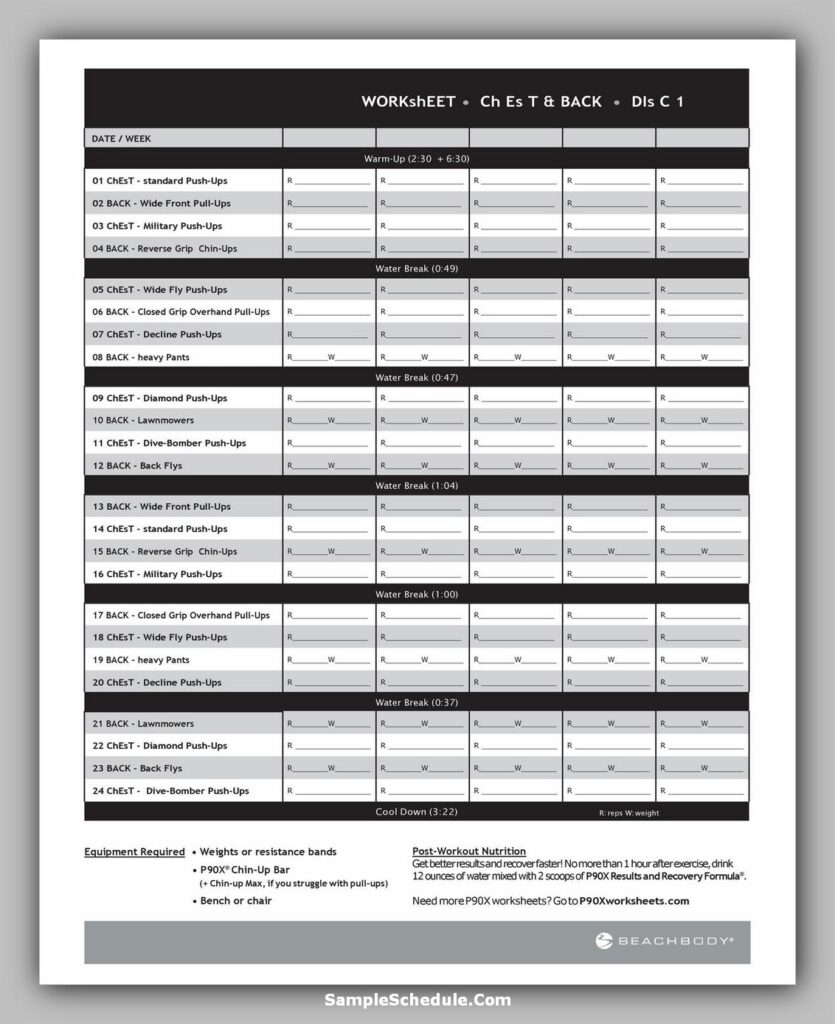 Workout Schedule Template 41