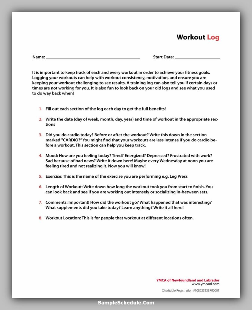 Workout Schedule Template 42