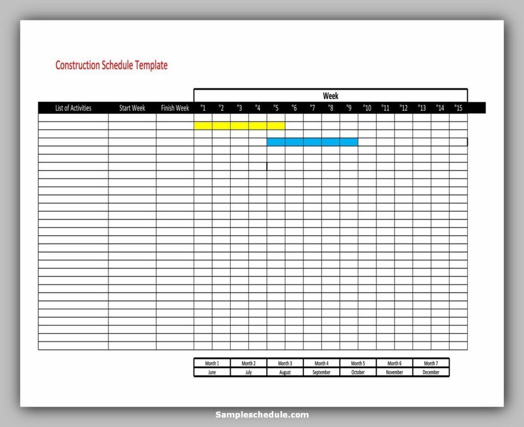 construction work schedule template 10