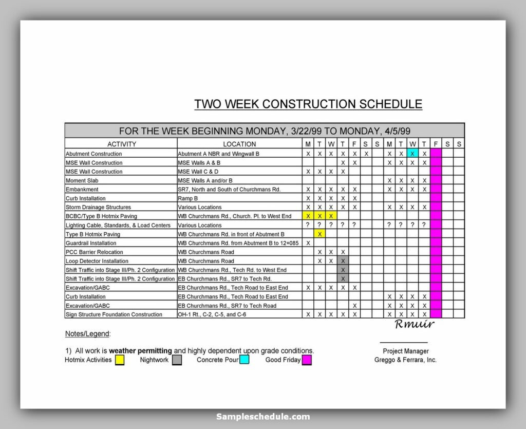 Two-week construction schedule