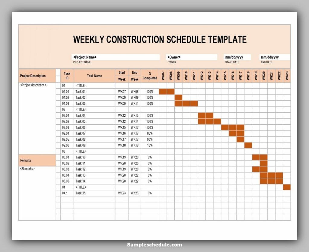 construction work schedule template 21