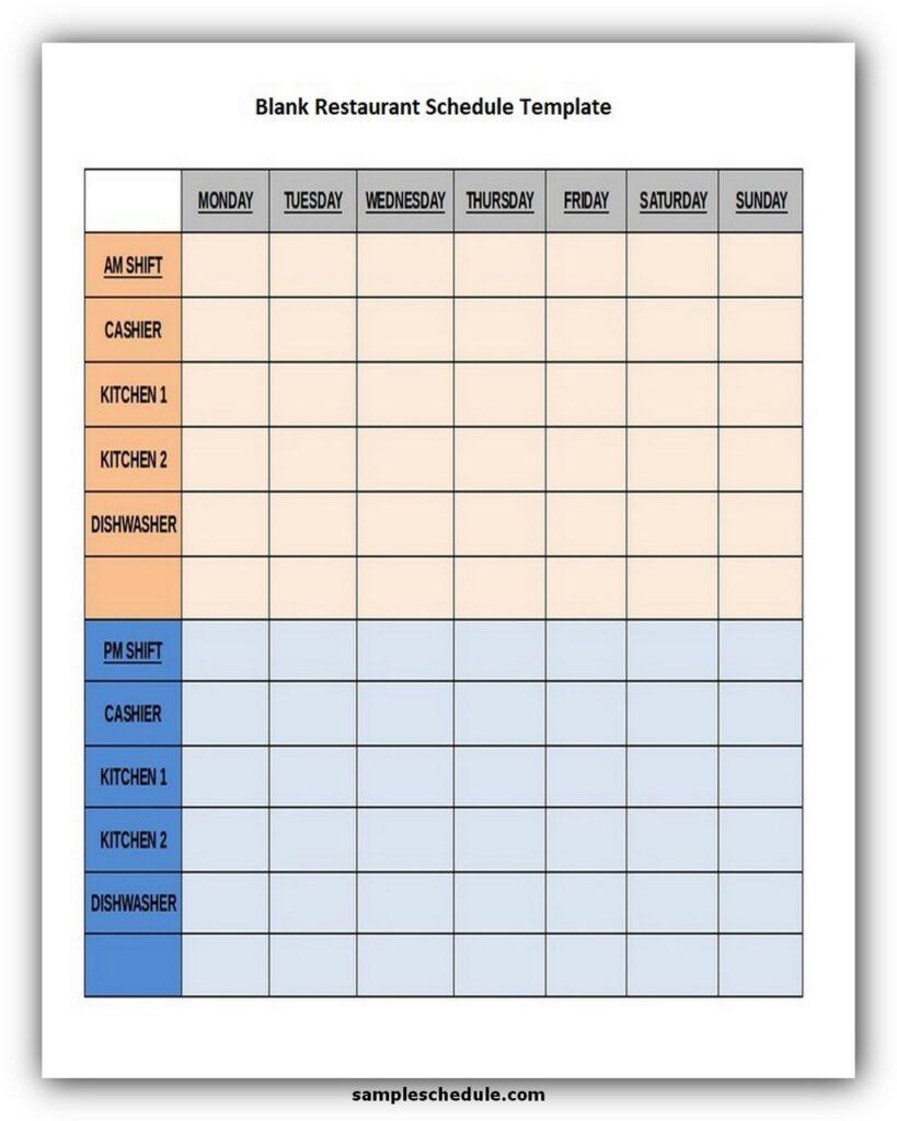 Blank Restaurant Schedule Template