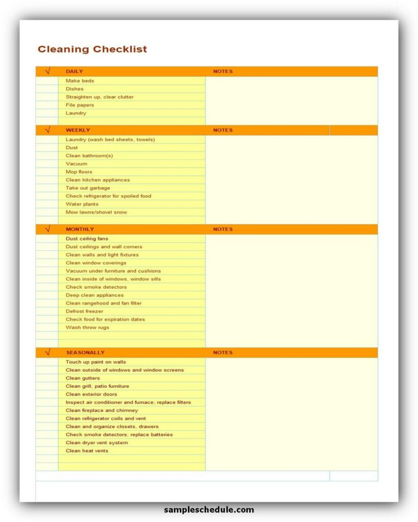 Cleaning Checklist Template Excel 04