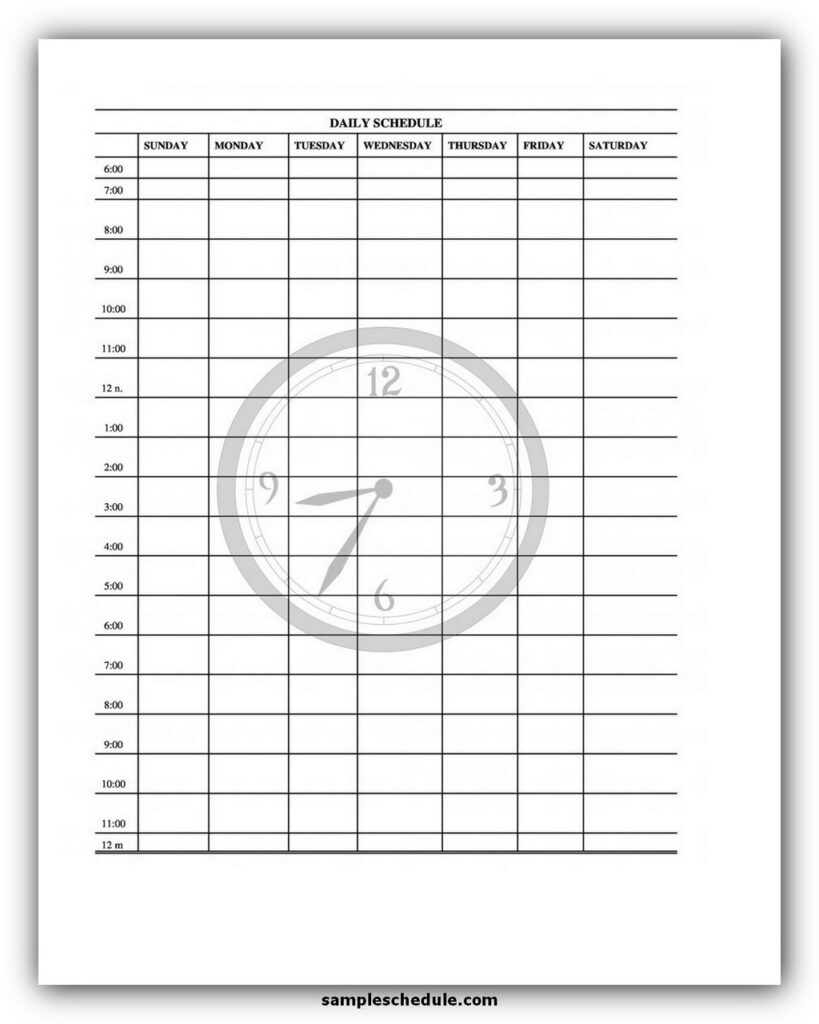 Daily Schedule Template 12