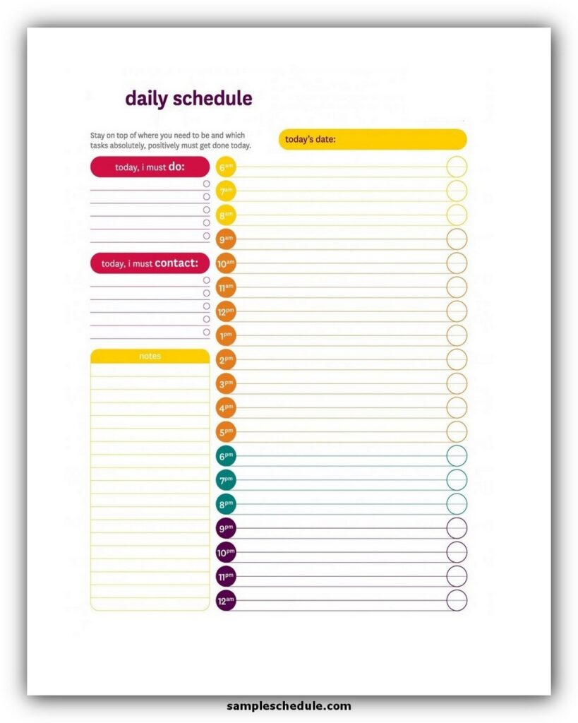 Daily Schedule Template 13