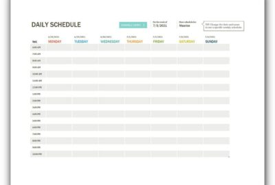 Daily Schedule Template Excel Free