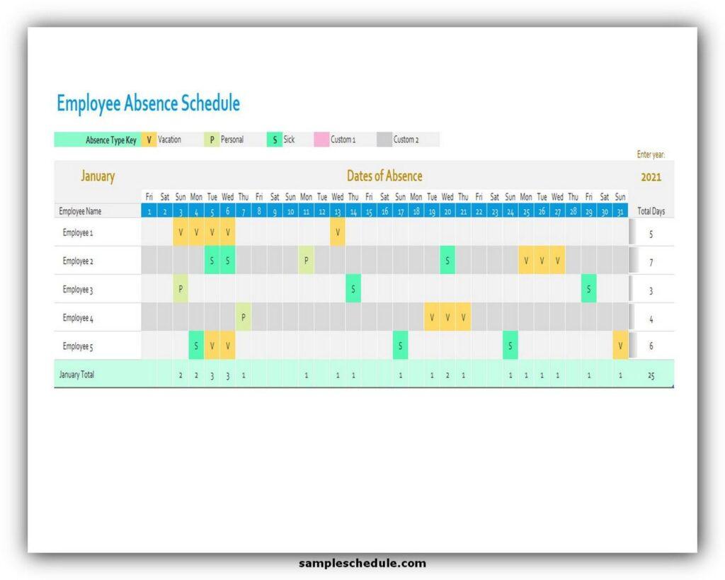 Employee Absence Schedule Excel