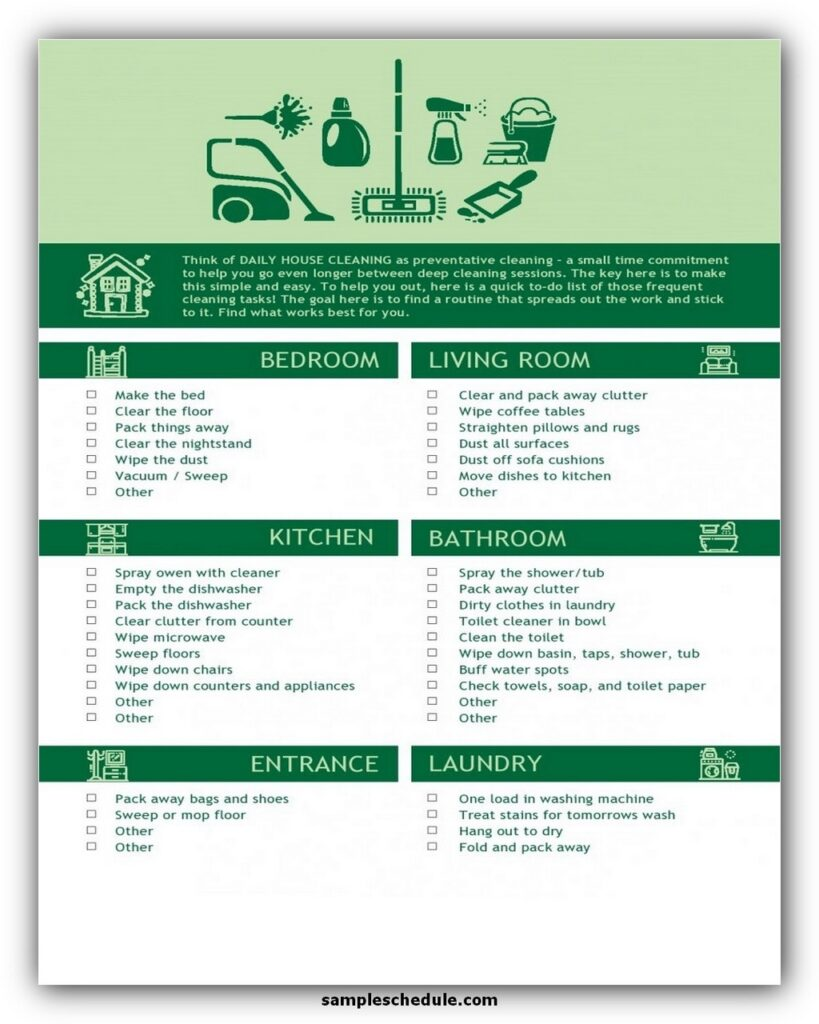 Professional House Cleaning Checklist Template 01