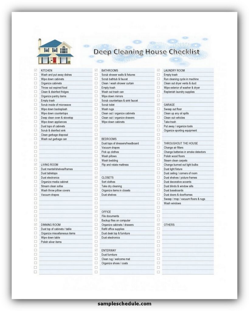 Professional House Cleaning Checklist Template 02