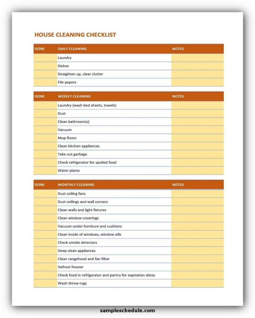 Professional House Cleaning Checklist Template 06