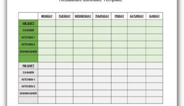 Restaurant Schedule Template Excel