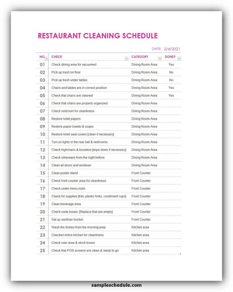 Restaurant cleaning schedule template