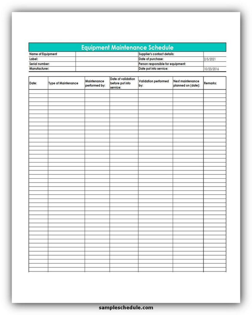 Spreadsheet Equipment Maintenance Schedule Template Excel