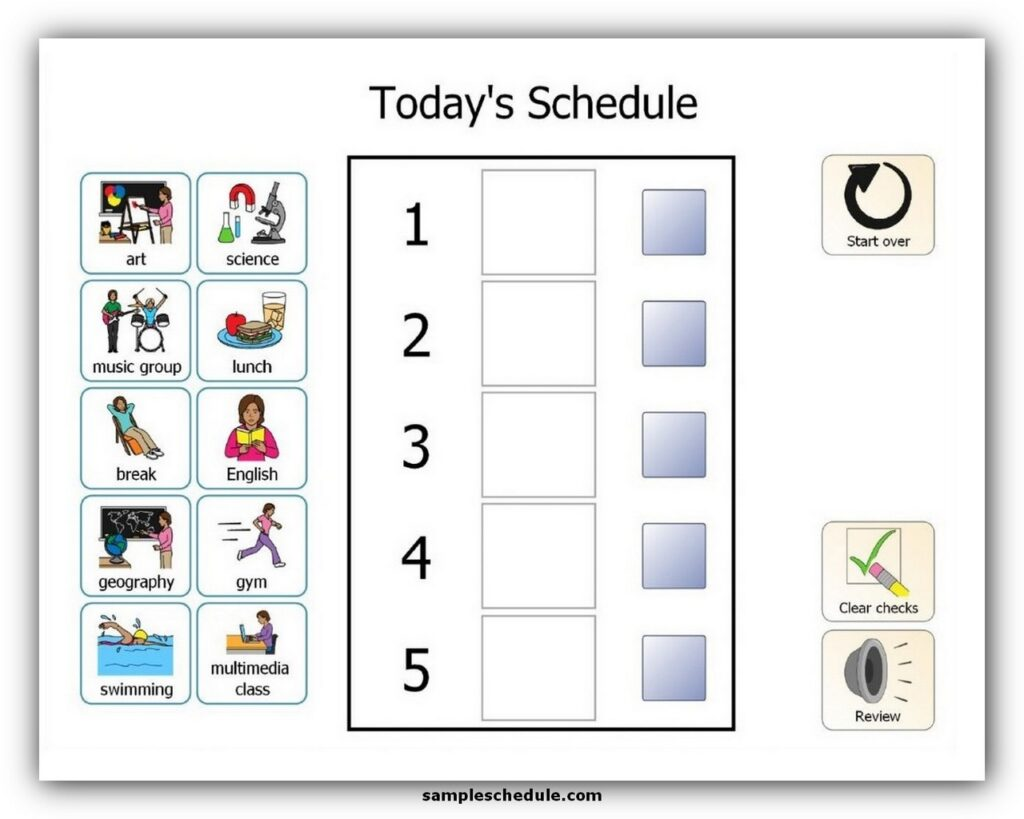 visual schedule for autism students