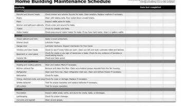 Building Maintenance Schedule Template Featured