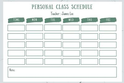 Class Schedule Template Word Fatured
