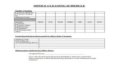 Cleaning Schedule Template for Office Featured