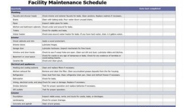 Facility Maintenance Schedule Excel Template Featured