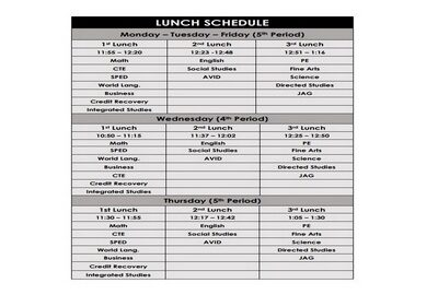 Lunch Schedule Template Featured