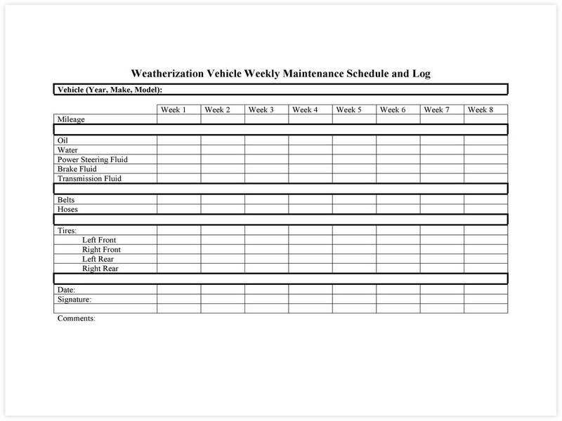Vehicle Maintenance Schedule template 01