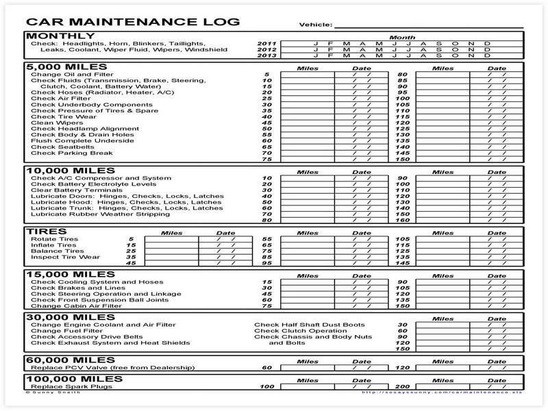 Vehicle Maintenance Schedule template 10