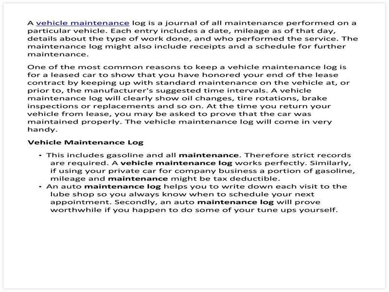 Vehicle Maintenance Schedule template 25