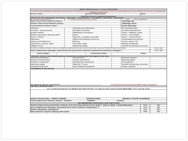 Vehicle Maintenance Schedule template 30