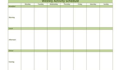 Weekly Activity Schedule Featured